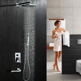 酒店浴室绮美斯全铜暗装方形雨淋式花洒手持花洒水龙头淋浴套装