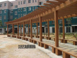 新农村水泥仿木花架 小区户外葡萄架 公园仿木长廊