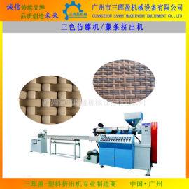 新上市PE仿藤机|塑料藤条挤出机|PE型材生产线