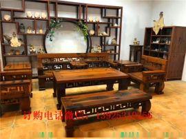 老船木沙发茶几组合原生态实木沙发万字沙发客厅茶桌