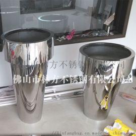 上海酒店圆形立式不锈钢花盆 金属装饰花钵定做
