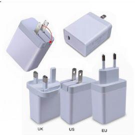 USB2.4A+PD充电器 欧规/美规/英规选择