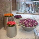商场斜口不锈钢花盆  广场不锈钢花钵花插组合