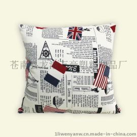 报纸抱枕套 新款报纸图案棉麻抱枕靠垫 车用沙发抱枕