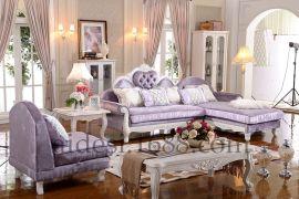 地中海休闲布艺实木沙发 ,乡村客厅贵妃转角沙发组合
