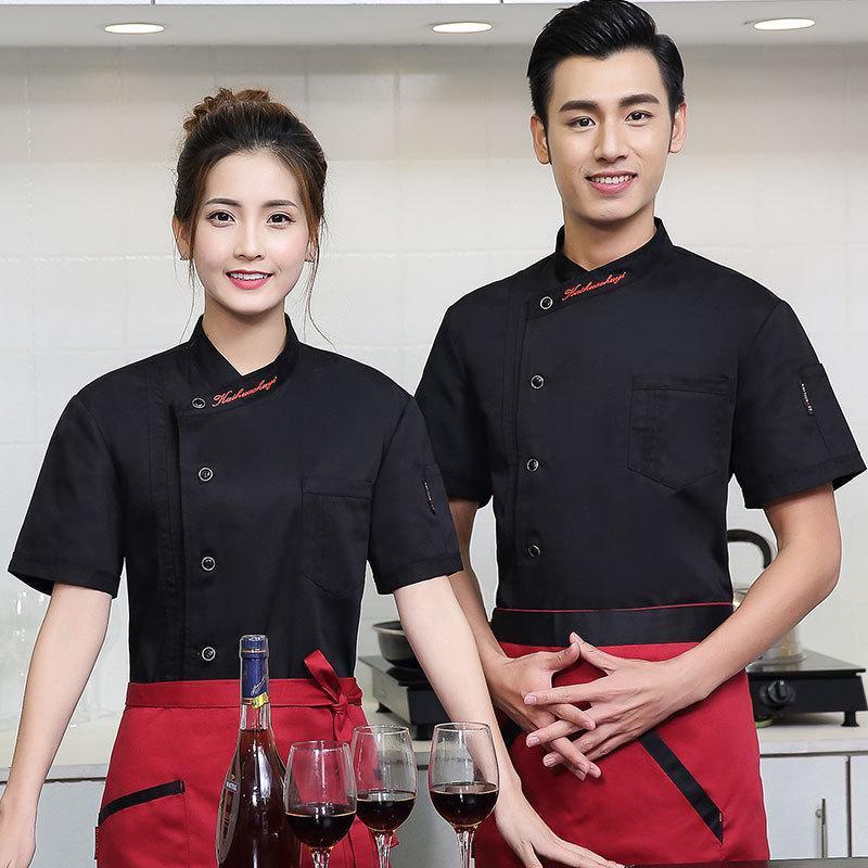 夏款男厨师服短袖 酒店餐厅饭店蛋糕店烘焙店快餐店女款工作服