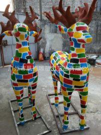 玻璃钢城市动漫主题景观小鹿雕塑 短期宣传广告摆件泡沫雕塑定制