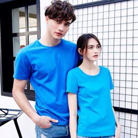 纯色工作服夏季纯精梳棉圆领广告t恤衫文化衫班服定制二维码logo