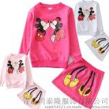 童套裝春秋卡通米妮套裙蝴蝶結套裝女童兩件套高品質童裝廠家直銷批發