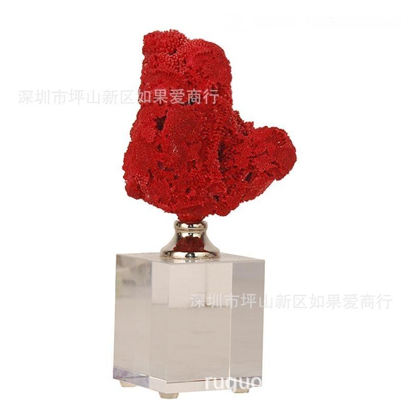 美式红色珊瑚水晶装饰欧式北欧样板房间客厅家居装饰品摆件创意