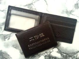 工厂定制批发工作证件皮套 定制真皮卡包 仿皮夹套可添加logo