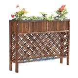咖啡店室外隔断花槽防腐木网格屏风碳化木栅栏花箱