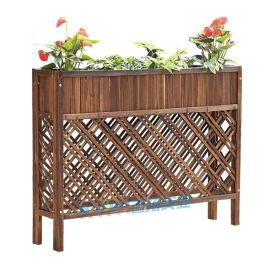 咖啡店室外隔斷花槽防腐木網格屏風碳化木柵欄花箱