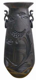 黑陶镂空鱼跃龙门花瓶