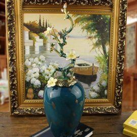 珐琅彩礼品 金属陶瓷工艺花瓶摆件 欧式创意花瓶摆件定制