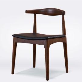 北欧牛角椅全纯实木餐椅凳子简约宜家咖啡厅椅酒店书房休闲布艺椅