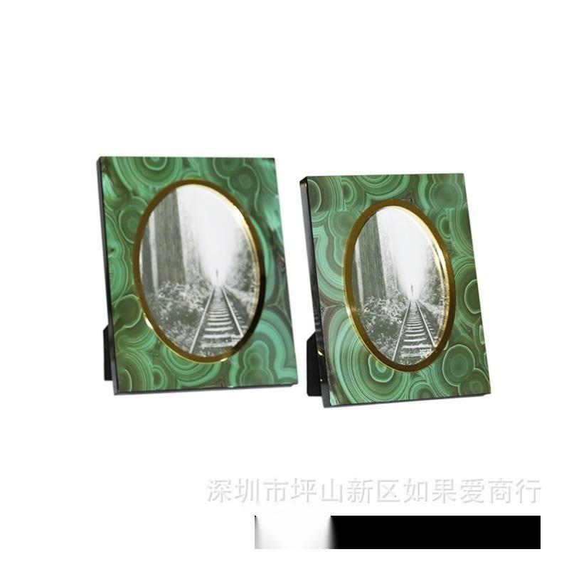 木質金色銀色綠色內橢圓形6寸7寸樣板房間全家福兒童影樓相框擺臺