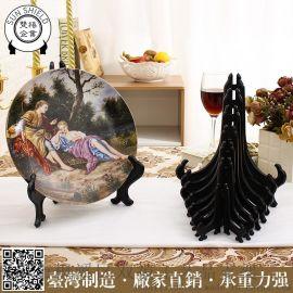 5寸臺灣黑盤架裝飾服裝展示架貨架架子美耐皿架密胺架陶瓷配件擺件