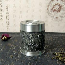 纯锡纺纯锡八骏腾飞茶叶罐家居办公实用礼品厂家定制