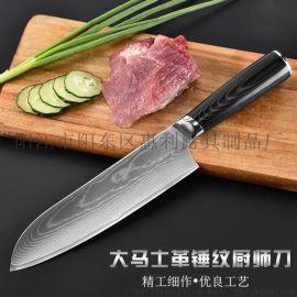 阳江惠利8寸大马士革钢花纹西式厨师刀切肉刀面包刀