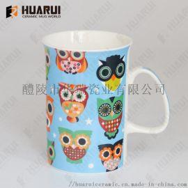 新骨瓷9oz直身反口陶瓷杯卡通动物促销陶瓷马克杯