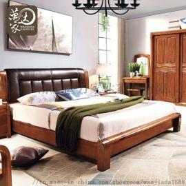 新中式实木床胡桃木卧室家具软靠皮床1.8m实木皮床