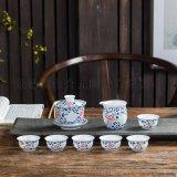 订制商务礼品陶瓷茶具,活动礼品手绘茶具套装