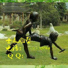 玻璃钢雕塑现代人物淘气小孩仿铜树脂工艺品