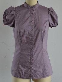 全棉高支府绸短袖女衬衫
