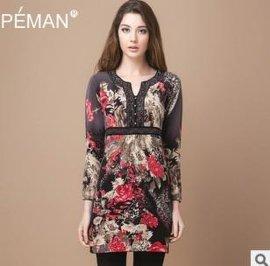 女式长款印花烫钻羊绒连衣裙