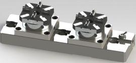 专业生产2头气动卡盘 快速定位夹具与EROWA通用互换1出2气动卡盘
