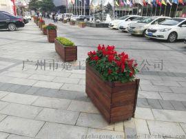 商场隔离木制花箱 公园成品花槽 楼盘花盆