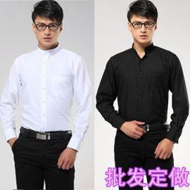 春夏裝時尚白色職業裝秋裝立領長袖襯衫修身商務中山立領男士襯衣