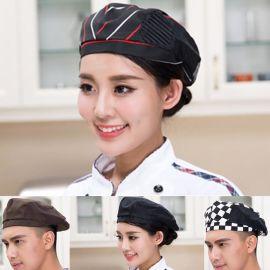 餐飲酒店工作帽 廚師帽 咖啡酒吧西餐廳貝雷帽廚師帽