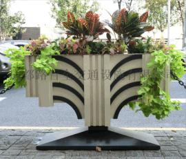 PVC微发泡街道隔离花箱花器花桶户外脸谱花盆园艺箱
