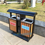 防腐户外垃圾桶室外公园钢木垃圾筒街道分类垃圾箱