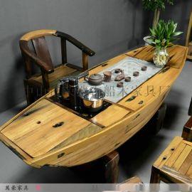 万豪船木家具老船木茶桌椅组合功夫泡茶桌
