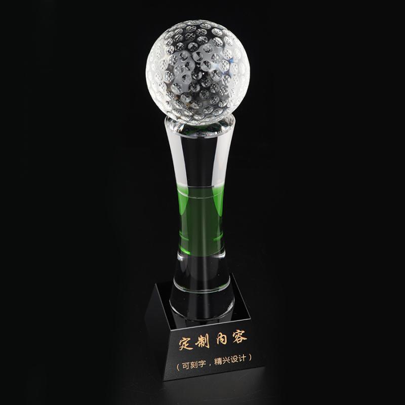 上海高尔夫球水晶奖杯 距离奖杯 净杆奖杯