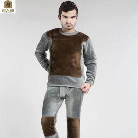 黄金甲保暖内衣套装 男士全棉加厚保暖内衣