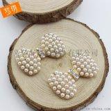 珍珠花盤 diy發飾合金配件 手機diy材料 diy飾品配件 頭飾配件