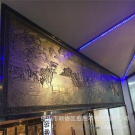 酒店铜雕装饰背景墙 铝板雕刻仿铜壁画屏风