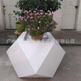 廠家生產玻璃鋼花盆 新款熱銷菱形白色玻璃鋼花鉢異形新穎花箱