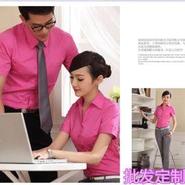 职业装2018短袖衬衫职业套装女夏销售工装男女同款银行工作服衬衣