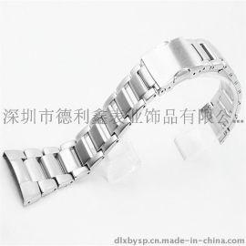 德利鑫DLXZZ卡扣不锈钢表带平口平耳16 mm三一国际钟表城名表双按扣表带制造商批发