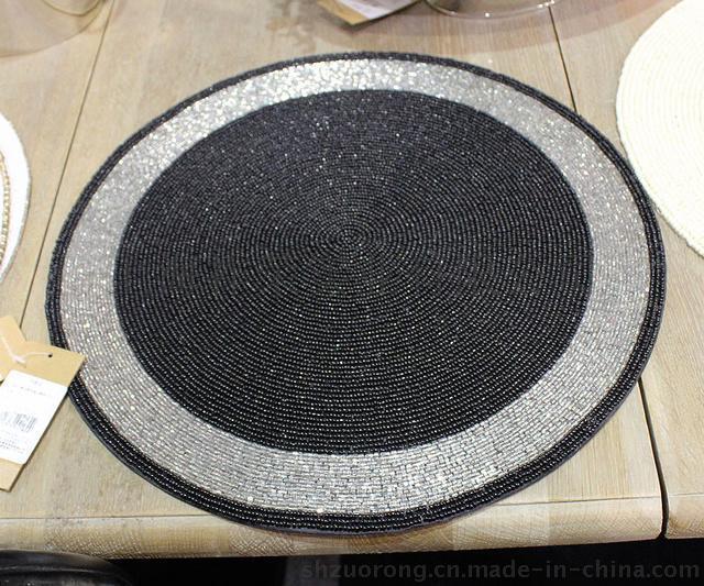 手工串珠餐垫 珠绣餐垫 木珠餐垫 贝壳餐垫 手工钉珠餐垫 珠绣餐巾