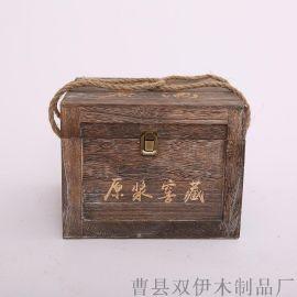 厂家定制四支装酒盒 **木质酒盒 复古四只木箱 4瓶装酒木盒