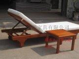 康图实木沙滩椅游泳池躺椅图片 沙滩椅价格