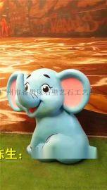 彩绘象雕塑 玻璃钢小象雕塑 彩绘象玻璃钢雕塑摆件 彩色动物圆雕厂家直销