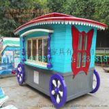 广州商业街售货亭  珠海游乐园购物车  实木贩卖花车