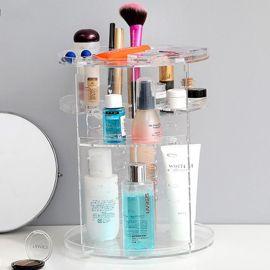 化妆品收纳盒亚克力桌面置物架透明旋转化妆盒梳妆台浴室整理塑料